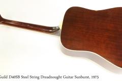Guild D40SB Steel String Dreadnought Guitar Sunburst, 1975   Full Rear View