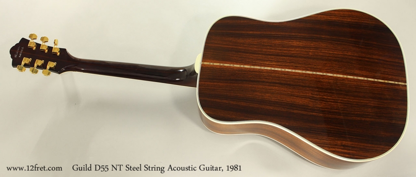 Guild D55 NT Steel String Acoustic Guitar, 1981 Full Rear View