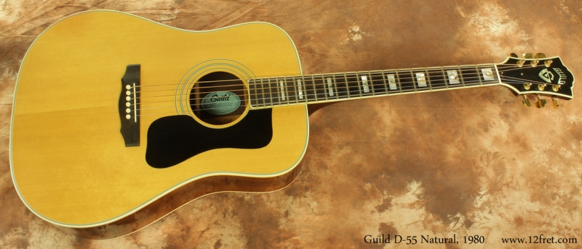 Guild D55NT Natural Dreadnought 1980 full front view