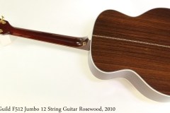 Guild F512 Jumbo 12 String Guitar Rosewood, 2010 Full Rear View