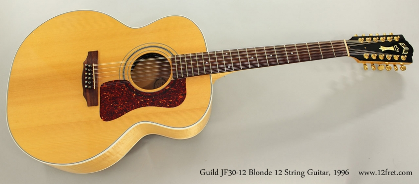 Guild JF30-12 Blonde 12 String Guitar, 1996 Full Front View