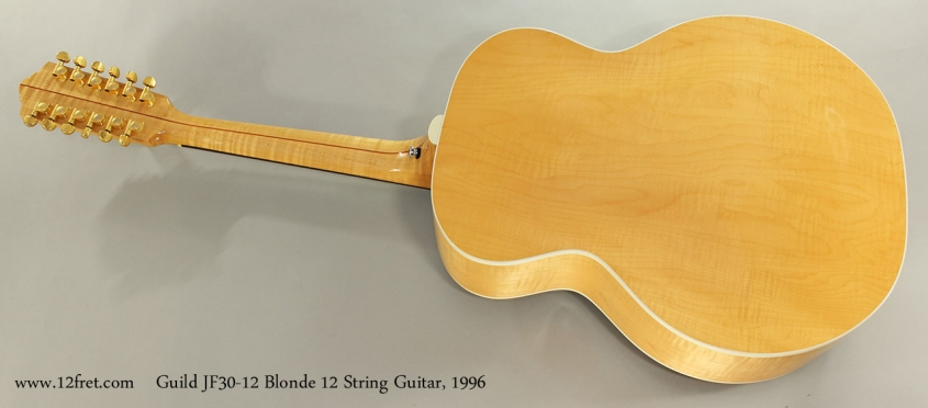 Guild JF30-12 Blonde 12 String Guitar, 1996 Full Rear View