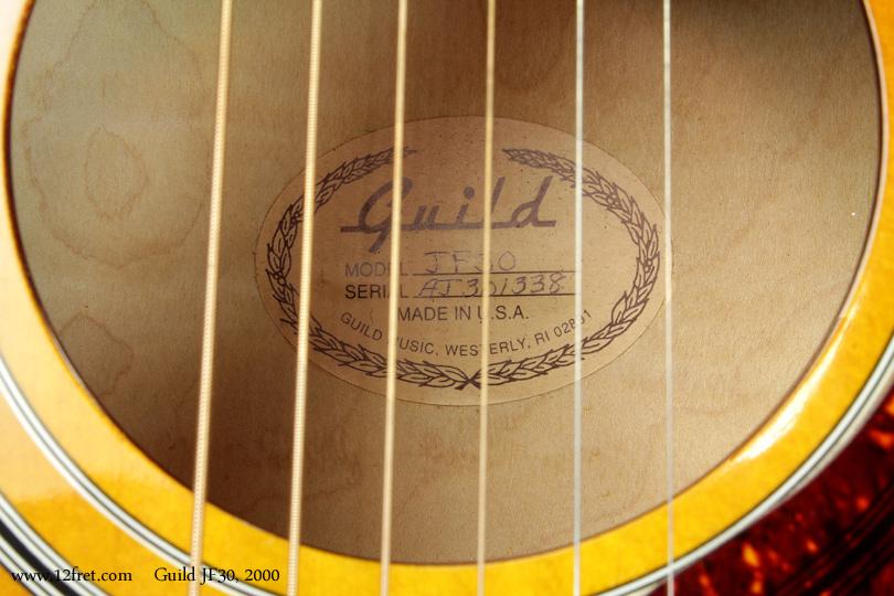 Guild JF30 Jumbo 2000 label