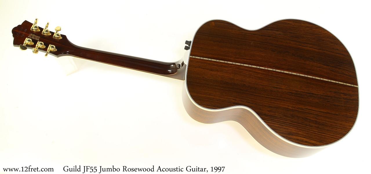 Guild JF55 Jumbo Rosewood Acoustic Guitar, 1997 Full Rear View