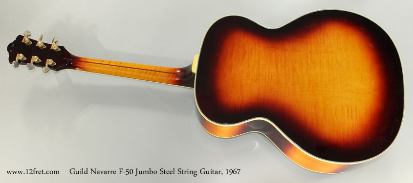 Guild Navarre F-50 Jumbo Steel String Guitar, 1967 Full Rear View