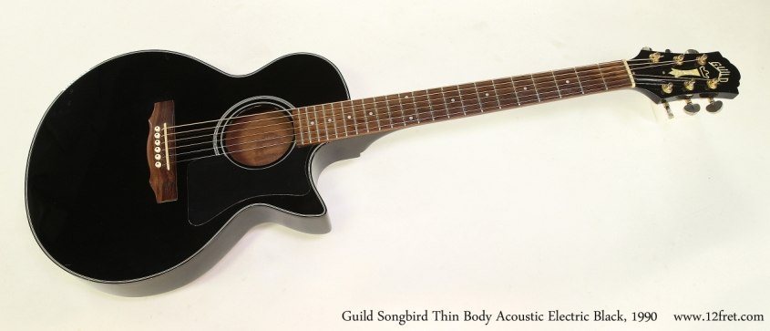 Guild Songbird Thin Body Acoustic Electric Black, 1990  Full Front View