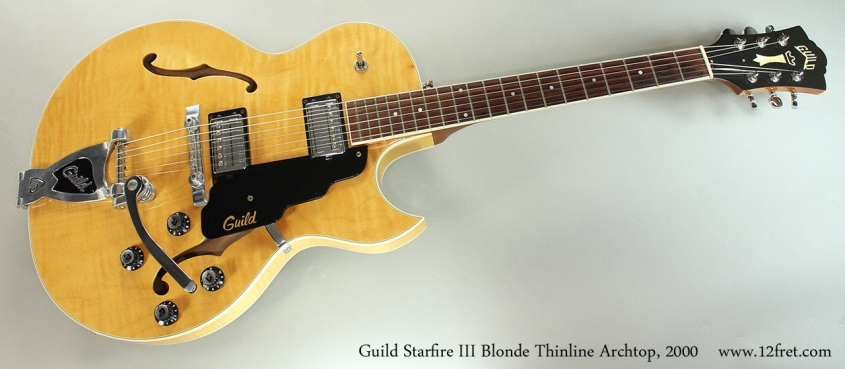 Guild Starfire III Blonde Thinline Archtop, 2000 Full Front View