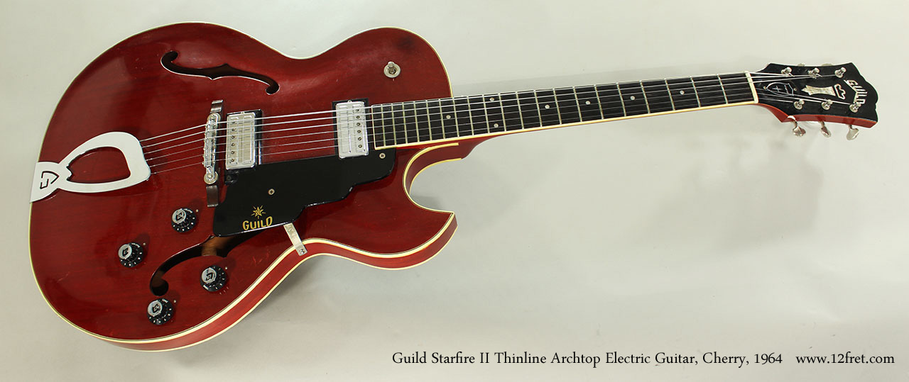 Guild Starfire II Thinline Archtop Electric Guitar, Cherry, 1964 Full Front View