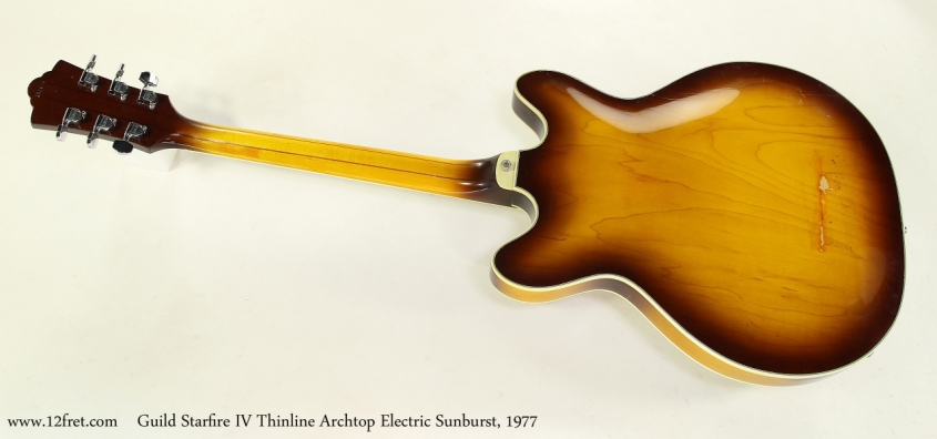 Guild Starfire IV Thinline Archtop Electric Sunburst, 1977 Full Rear View