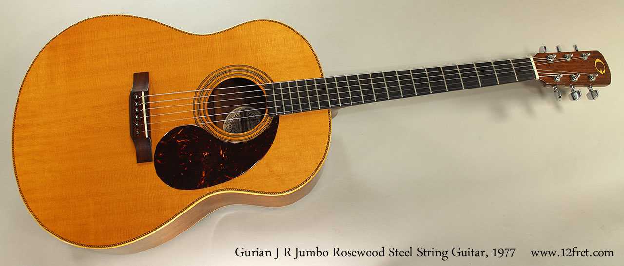 Gurian J R Jumbo Rosewood Steel String Guitar, 1977 Full Front View