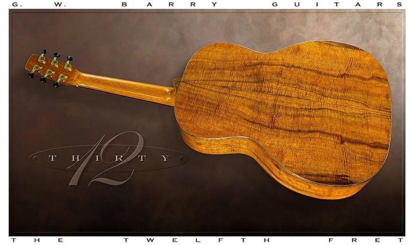 G W Barry 30-12 Koa 000+ Steel String Guitar 2016 Full Rear View