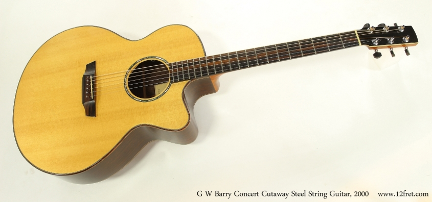 G W Barry Concert Cutaway Steel String Guitar, 2000  Full Front View
