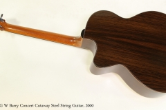 G W Barry Concert Cutaway Steel String Guitar, 2000  Full Rear View