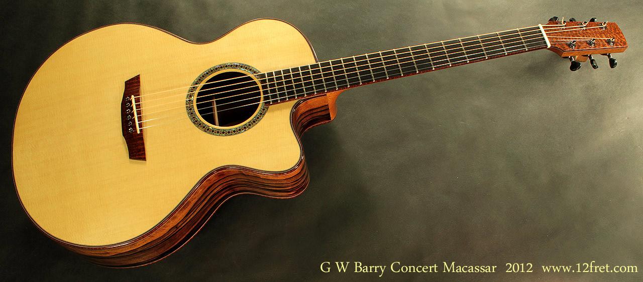 G. W. Barry Hand Built Guitars Macassar Front VIew