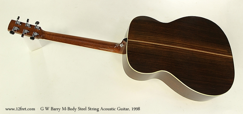 G W Barry M-Body Steel String Acoustic Guitar, 1998  Full Rear View