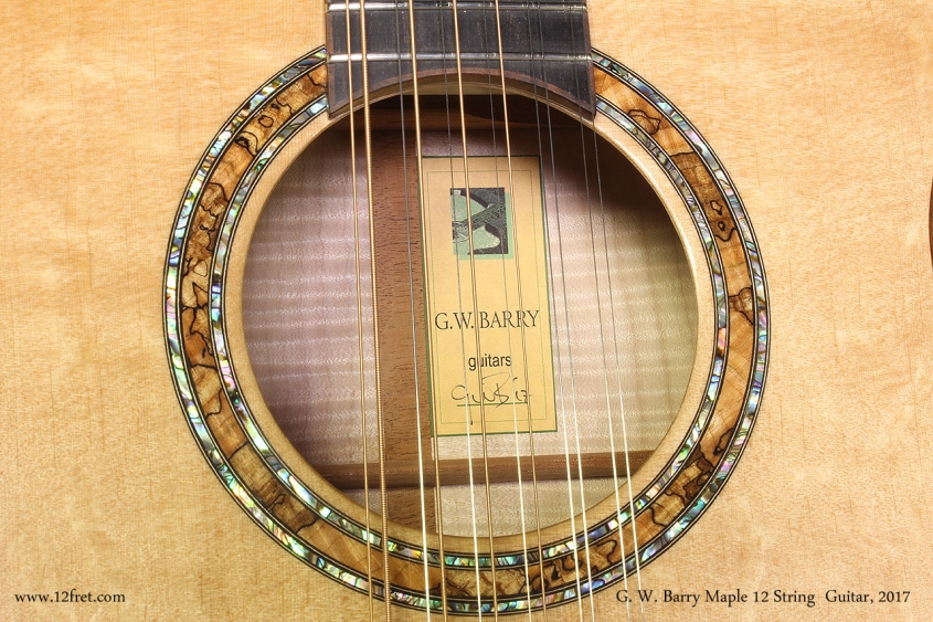 G. W. Barry Maple 12 String Guitar, 2017 Label View