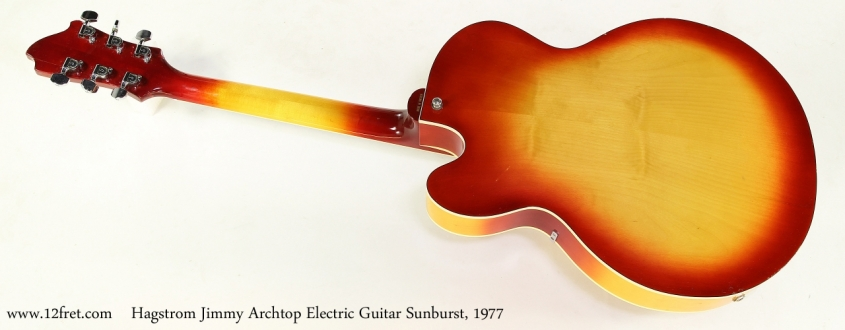 Hagstrom Jimmy Archtop Electric Guitar Sunburst, 1977   Full Rear View