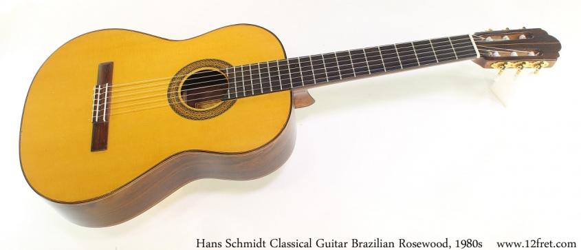 Hans Schmidt Classical Guitar Brazilian Rosewood, 1980s Full Front View