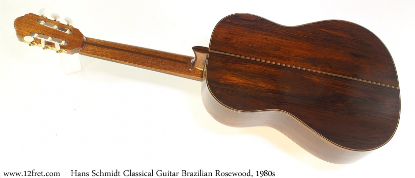 Hans Schmidt Classical Guitar Brazilian Rosewood, 1980s Full Rear View
