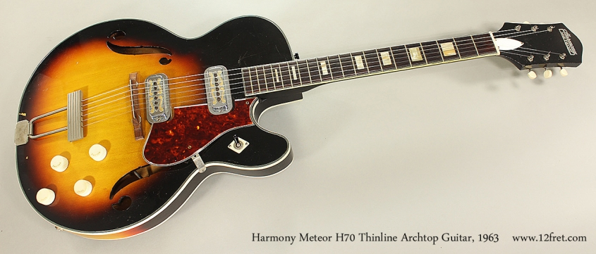 Harmony Meteor H70 Thinline Archtop Guitar, 1963 Full Rear View