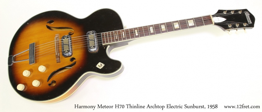 Harmony Meteor H70 Thinline Archtop Electric Sunburst, 1958 Full Front View