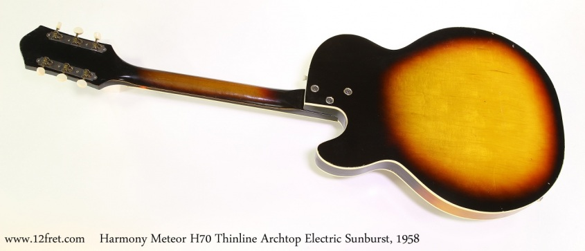 Harmony Meteor H70 Thinline Archtop Electric Sunburst, 1958 Full Rear View