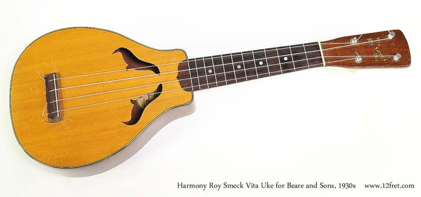 Harmony Roy Smeck Vita Uke for Beare and Sons, 1930s Full Front View