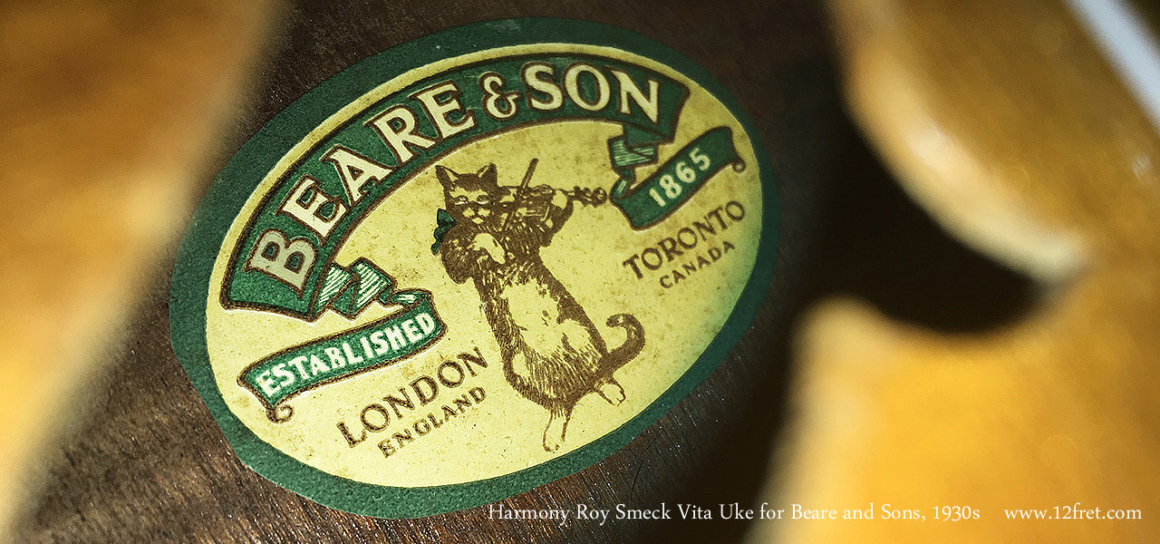 Harmony Roy Smeck Vita Uke for Beare and Sons, 1930s Label View