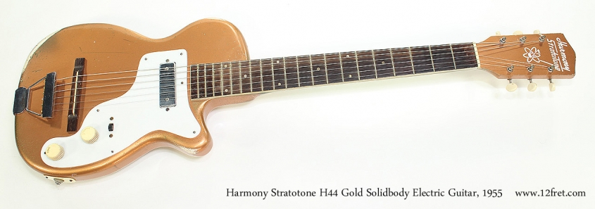 Harmony Stratotone H44 Gold Solidbody Electric Guitar, 1955 Full Front View