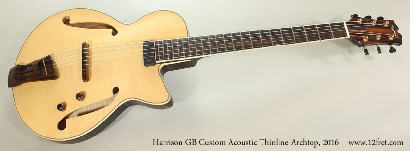 Harrison GB Custom Acoustic Thinline Archtop, 2016 Full Front View