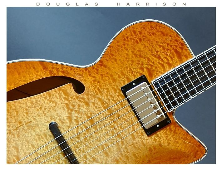 Douglas Harrison GB Custom Blister Maple Thinline Archtop Electric, 2015 Top Detail