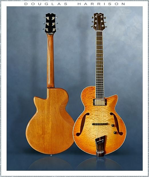 Douglas Harrison GB Custom Blister Maple Thinline Archtop Electric, 2015 Front Rear Views 2