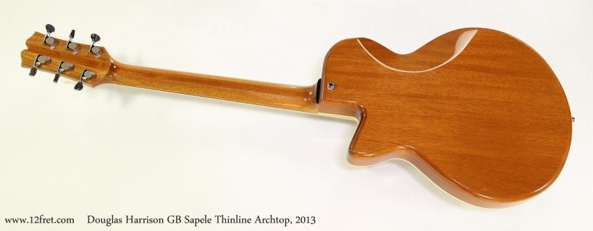 Douglas Harrison GB Sapele Thinline Archtop, 2013  Full Rear View