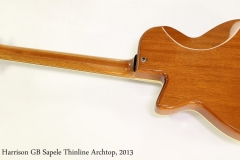 Douglas Harrison GB Sapele Thinline Archtop, 2013  Full Rear View