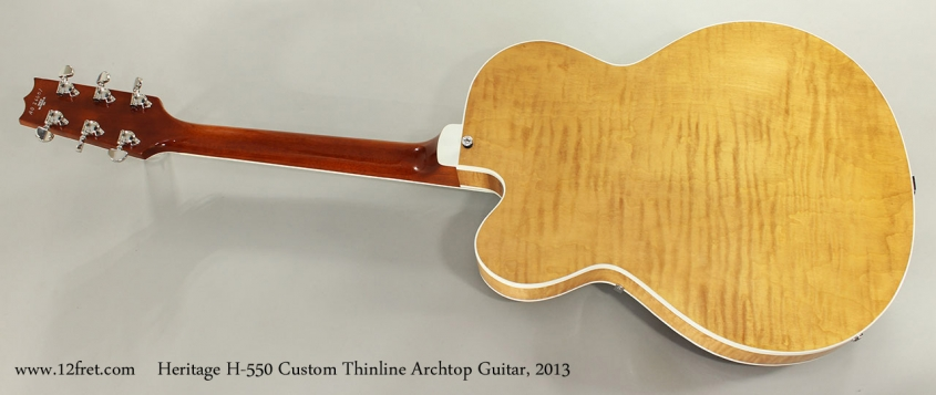 Heritage H-550 Custom Thinline Archtop Guitar, 2013 Full Rear View