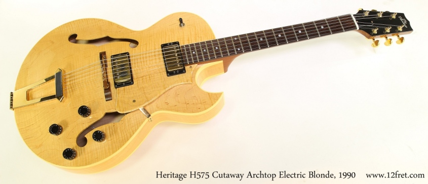 Heritage H575 Cutaway Archtop Electric Blonde, 1990 Full Front View