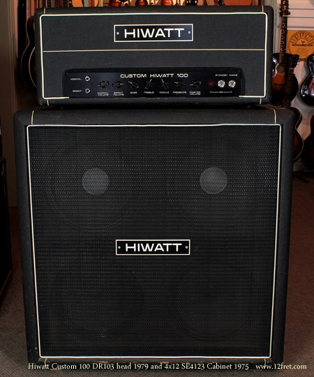 Hiwatt Custom 100 head 1970 with se4123 Cabinet 1979 stack front