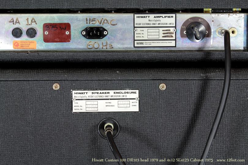 Hiwatt Custom 100 head 1970 with se4123 Cabinet 1979 back panel