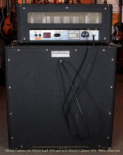 Hiwatt Custom 100 head 1970 with se4123 Cabinet 1979 stack back
