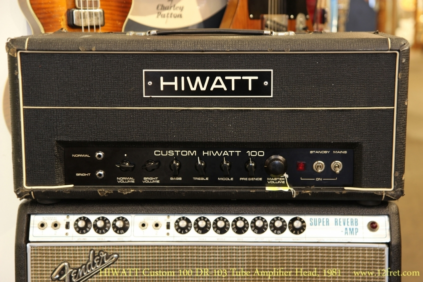 HIWATT Custom 100 DR-103 Tube Amplifier Head, 1981   Full Front View