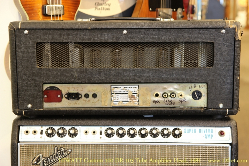 HIWATT Custom 100 DR-103 Tube Amplifier Head, 1981   Full Rear View
