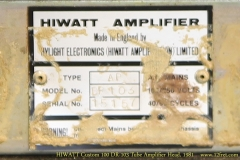 HIWATT Custom 100 DR-103 Tube Amplifier Head, 1981   Serial Plate View