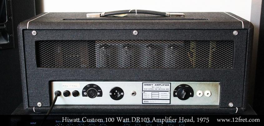 Hiwatt Custom 100 Watt DR103 Amplifier Head, 1975 Full Rear View