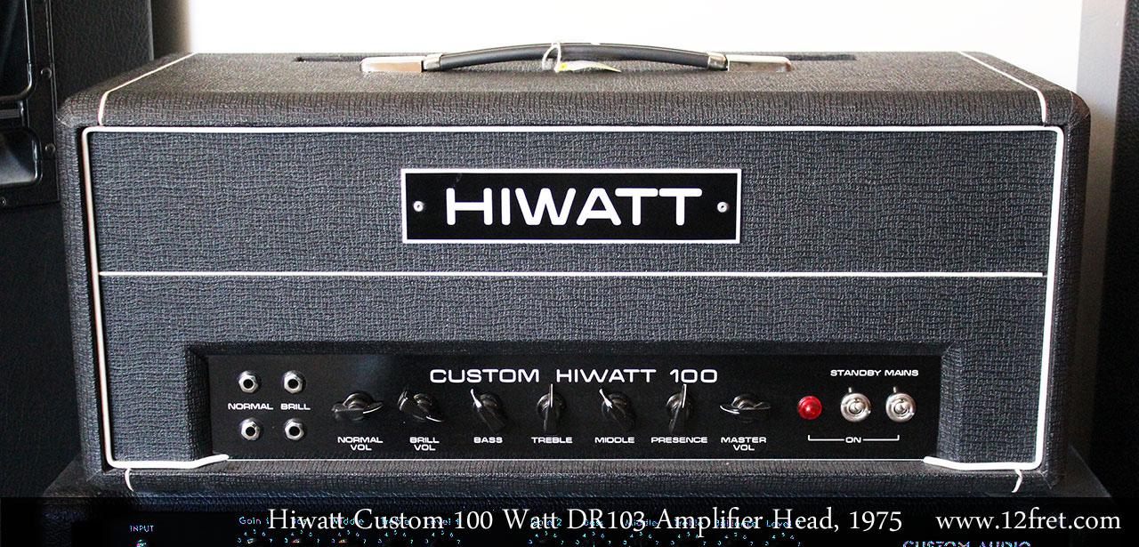 Hiwatt Custom 100 Watt DR103 Amplifier Head, 1975 Full Front View