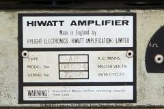 HIWATT Custom 50 DR-504 Tube Amplifier Head, 1974   Serial Panel View