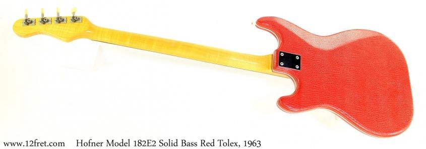 Hofner Model 182E2 Solid Bass Red Tolex, 1963 Full Rear View