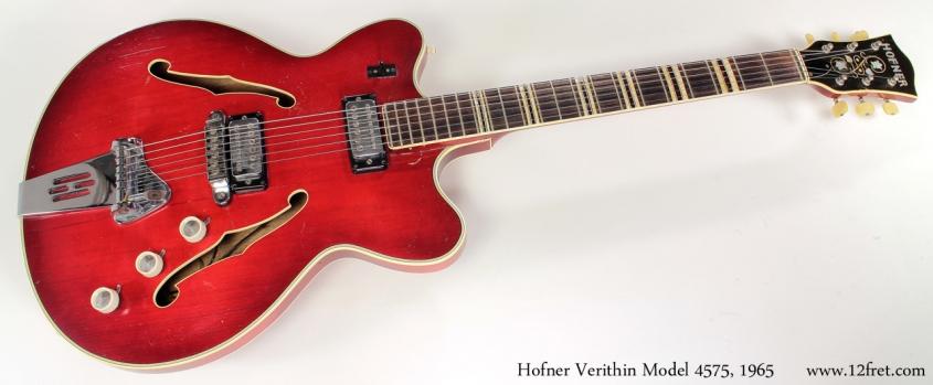 Hofner model 4574 verithin 1965 full front view