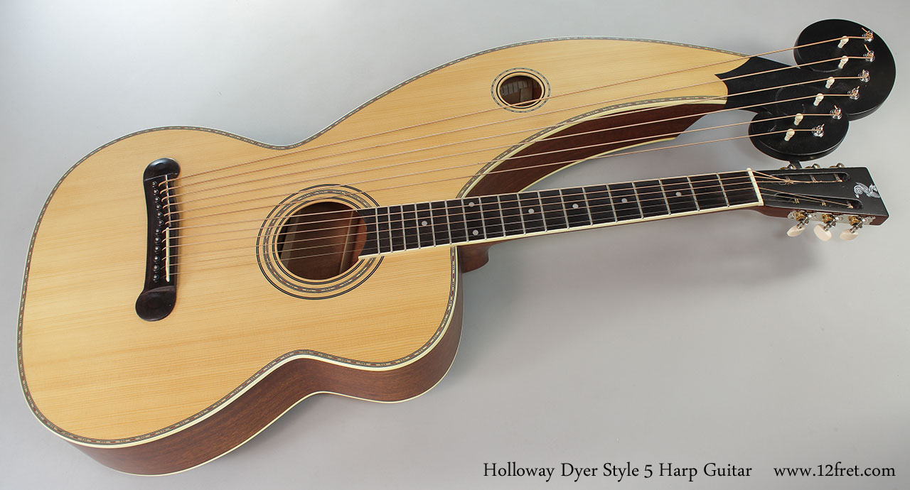 Holloway Dyer Style 5 Harp Guitar Full Front View