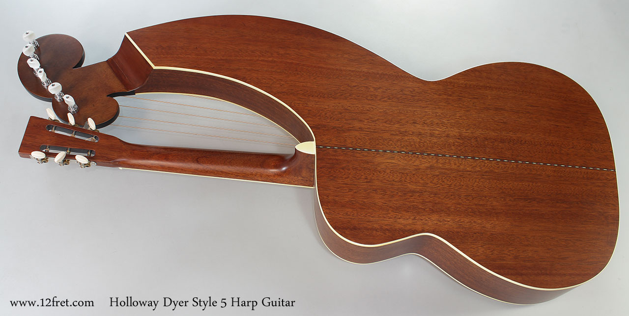 Holloway Dyer Style 5 Harp Guitar Full Rear View