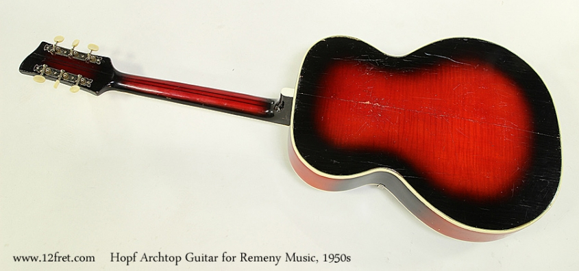 Hopf Archtop Guitar for Remeny Music, 1950s Full Rear View